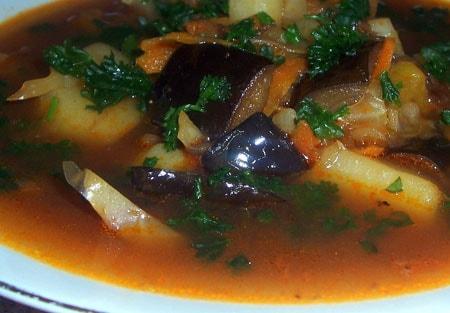 Пошаговый рецепт приготовления томатный суп с баклажанами