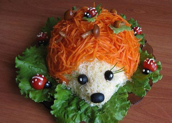 Салат из говядины Ежик